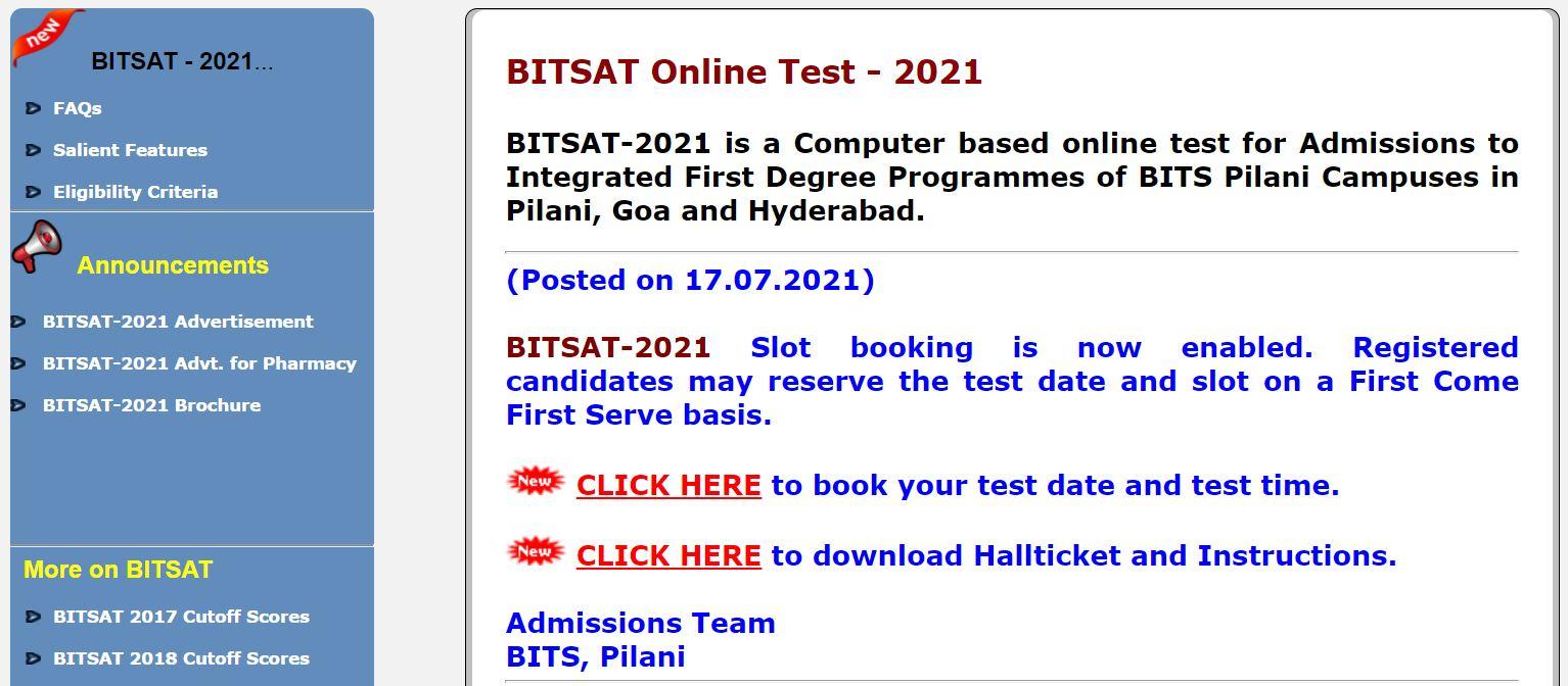 BITSAT 2021 SLOT BOOKING